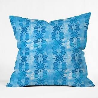 East Urban Home Schatzi Brown Boho Turquoise Flower Throw Pillow