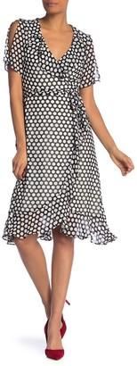 Donna Morgan Dotted Surplice Ruffle Wrap Dress