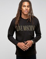 Love Moschino Ebroidered Logo Long Sleeve Top