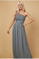 Thumbnail for your product : Little Mistress Bridesmaid Luanna Pistachio Embellished One-Shoulder Maxi Dress