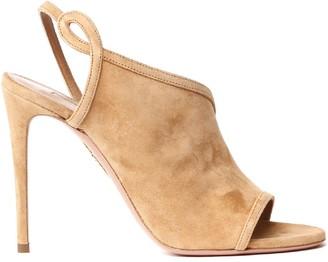 Aquazzura Camel Suede Asymmetric Sandals