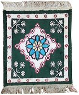 Yilong Carpet Small Square Handmade Silk Carpet Persian Oriental Rug Kitchen Placemats Green 1 Feet by 1 Feet Y273C1x1