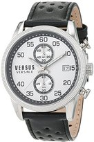 Versus By Versace Men's 'SHOREDITCH' Quartz Stainless Steel and Leather Casual Watch, Color:Black (Model: S66060016)