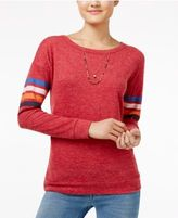 Hippie Rose Juniors' Striped-Sleeve Top