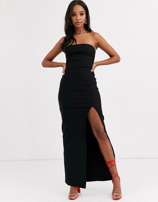 Vesper bandeau maxi dress with leg split in black