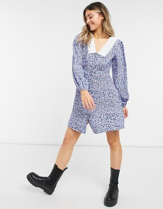 New Look embroidered collar mini dress in blue ditsy floral
