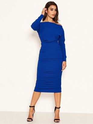 AX Paris Off Shoulder Ruched Dress - Cobalt