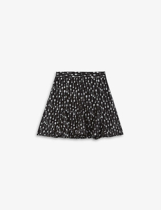 The Kooples Metallic frilled woven mini skirt