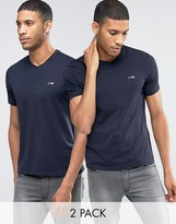 Armani Jeans T-shirt With V Neck 2 Pack In Navy
