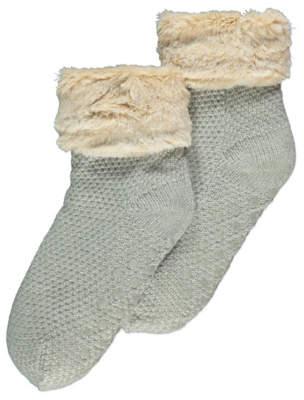 George Grey Knitted Fleece Lined Slipper Socks