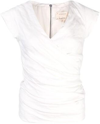Nicole Miller ruched V-neck blouse