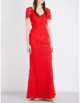 St. John Embroidered guipure-lace gown