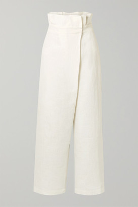 Mara Hoffman Net Sustain Nikko Wrap-effect High-rise Wide-leg Pants - White