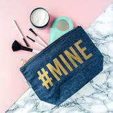 The Little Picture Company '#Mine' Gold And Denim Make Up Case