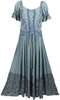 Coline Women's Casual Dresses Silver - Silver Blue Floral Corset Bib Peasant Dress - Women