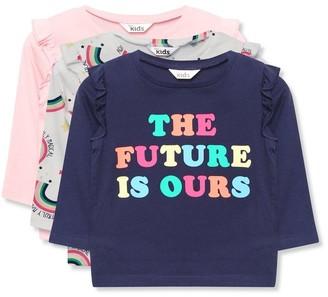 M&Co Slogan rainbow t-shirts three pack (9mths-5yrs)