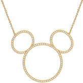 Disney Mickey Mouse Icon Silhouette Necklace by CRISLU - Yellow Gold