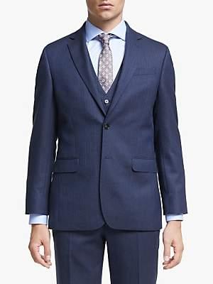 John Lewis & Partners Wool Herringbone Regular Fit Suit Jacket, Royal Blue