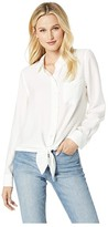 Vince Camuto Flowy Rumple Tie-Front Button Down Shirt (New Ivory) Women's Clothing