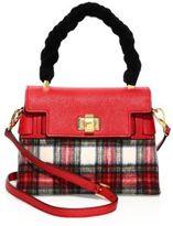 Miu Miu Plaid Wool, Leather & Velvet Top Handle Satchel