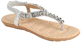 Silver Beaded Calista T-Strap Sandal