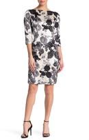 St. John Floral Silk Blend Boatneck Dress