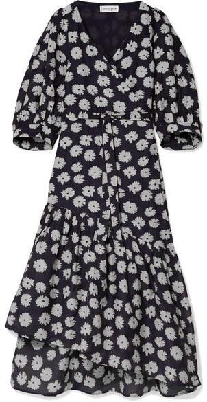 Apiece Apart Bougainvillea 花卉印花棉丝混纺裹身连衣裙