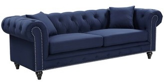 "Kylan Velvet Chesterfield 90"" Rolled Arm Sofa Darby Home Co Fabric: Navy Linen"