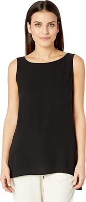 Eileen Fisher Petite Silk Georgette Crepe Bateau Neck Long Shell (Black) Women's Blouse