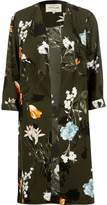 River Island Womens Khaki green floral print duster coat
