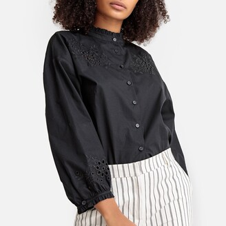 La Redoute Collections Ruffled Floral Openwork Cotton Poplin Shirt