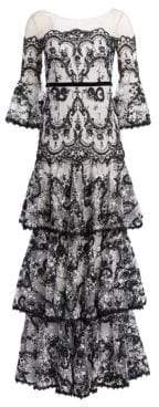 Marchesa Bell-Sleeve Embroidered Lace Gown