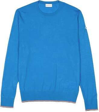 Moncler Blue Fine-knit Wool Jumper