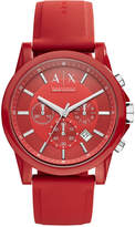 Armani Exchange A|X Unisex Chronograph Red Silicone Strap Watch 44mm AX1328