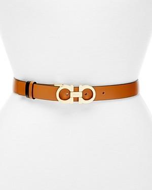 Salvatore Ferragamo Women's Gancini Slim Reversible Leather Belt