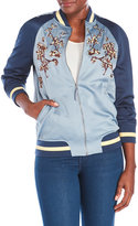 Max Studio Floral Embroidered Varsity Jacket