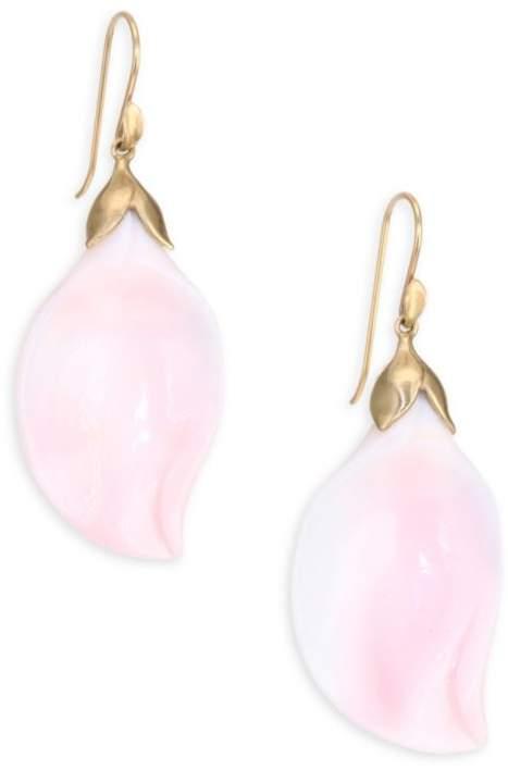Annette Ferdinandsen 18K Gold & Pink Conch Petal Drop Earrings