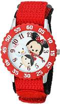 Disney Girl's 'Tsum Tsum' Quartz Stainless Steel and Nylon Casual Watch, Color:Red (Model: WDS000117)