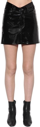Balenciaga V Waist Patent Leather Mini Skirt