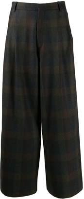 Études checked wide leg trousers