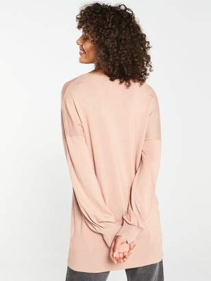 Very V-Neck Blouson Sleeve Slouch Jumper - Light Camel