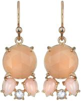 Irene Neuwirth Peach Moonstone Drop Earrings with Rose Cut Diamonds - Rose Gold
