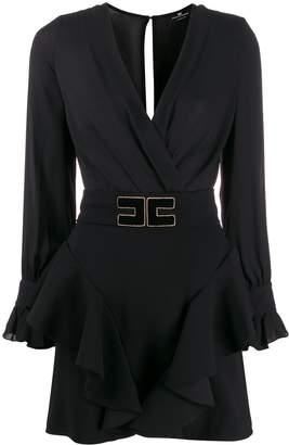 Elisabetta Franchi v-neck logo belt dress