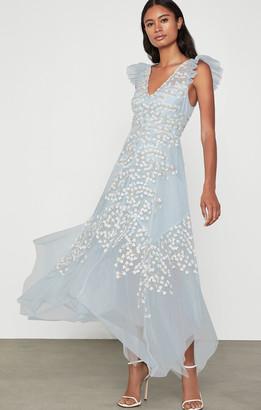 BCBGMAXAZRIA Embroidered Tulle Ruffle Dress