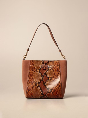 Tory Burch Shoulder Bag In Suede And Python Print Leather