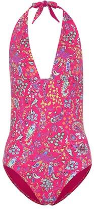 Etro Printed halter swimsuit