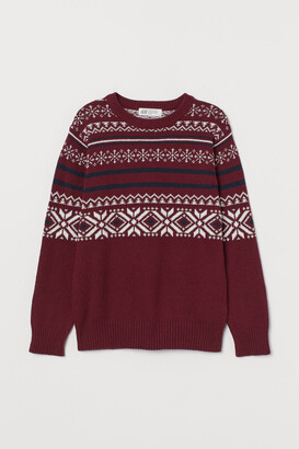 H&M Jacquard-knit Sweater - Red