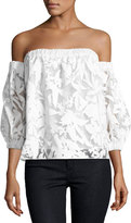 Milly Off-the-Shoulder Floral-Burnout Blouse, White