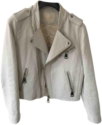Maje \N Ecru Leather Jackets