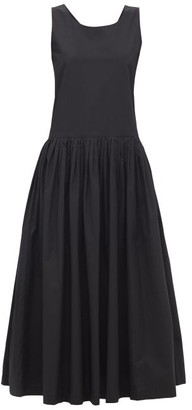 Sara Lanzi Bow-back Pleated Cotton Midi Dress - Black